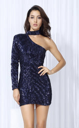 Mystique Navy Sequin One Shoulder Mini Choker Dress - Fashion Genie Boutique