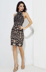 Meilani Black & Nude Sequin Halter Neck Mini Dress - Fashion Genie Boutique