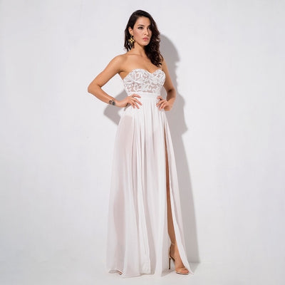 Phi Phi White Strapless Sequin Floaty Maxi Dress - Fashion Genie Boutique