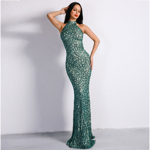Effervescent Green Glitter Maxi Dress - Fashion Genie Boutique