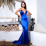 Glowing Goddess Blue Satin Fishtail Maxi Dress - Fashion Genie Boutique