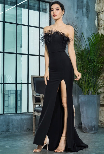 Prague Black Feather Strapless High Split Maxi Dress - Fashion Genie Boutique