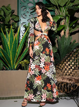 Floral Electric Black Multi Long Sleeve Floral Maxi Dress - Fashion Genie Boutique
