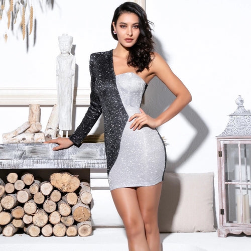 Karisa Black And Silver Irregular Glitter Mini Dress - Fashion Genie Boutique