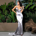 Glowing Goddess Grey Satin Fishtail Maxi Dress - Fashion Genie Boutique