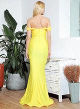She's Flawless Yellow Bardot Fishtail Maxi Dress - Fashion Genie Boutique
