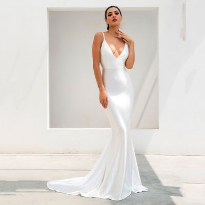 In Your Dreams White Maxi Satin Gown Dress - Fashion Genie Boutique