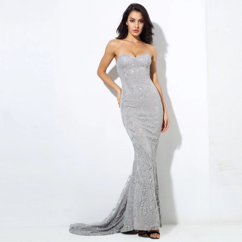 Saints & Sinners Silver Glitter Strapless Maxi Dress - Fashion Genie Boutique