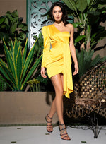 Sophisticated Sass Yellow One Shoulder Satin Mini Dress - Fashion Genie Boutique