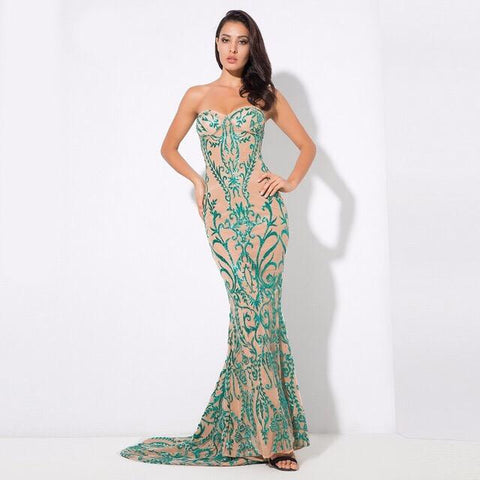 Saints & Sinners Green Sequin Strapless Maxi Dress - Fashion Genie Boutique