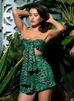 Play It Safe Green Bandeau Crop Top & High Waisted Shorts Co-Ord - Fashion Genie Boutique