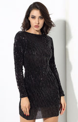 Glam Life Black Sequin Long Sleeve Mini Dress - Fashion Genie Boutique