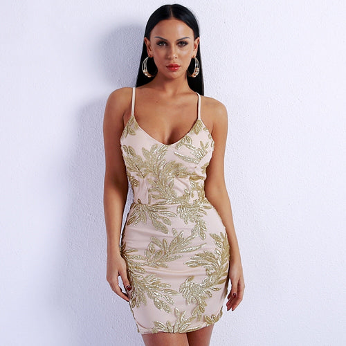 The Roses Are Gold Glitter Embellished Mini Dress - Fashion Genie Boutique