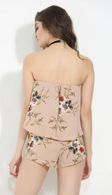 Rosabella Nude Floral Strapless Playsuit - Fashion Genie Boutique