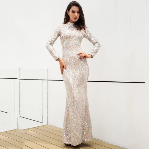 2704d259 Secret Lust Silver Sequin Long Sleeve Maxi Dress - Fashion Genie Boutique