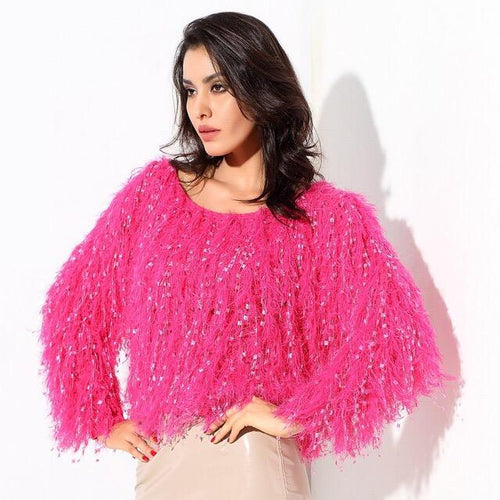 Heart Throb Hot Pink Fluffy Fringe Jumper - Fashion Genie Boutique