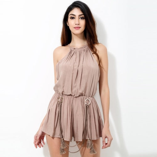 Extracurricular Nude Tassel Playsuit - Fashion Genie Boutique