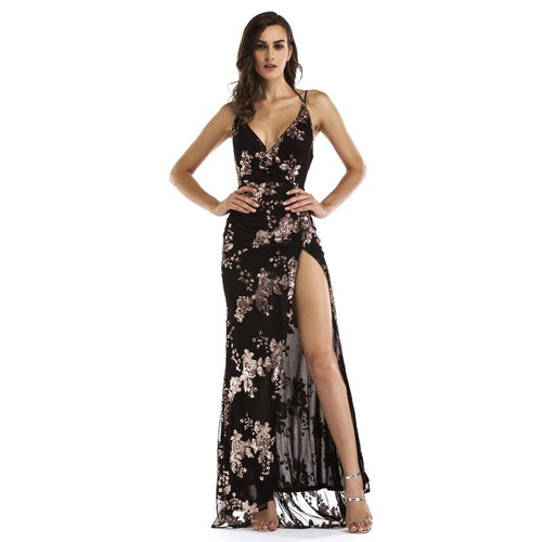 Glorious Black Sequin Front Split Sweeping Maxi Dress - Fashion Genie Boutique
