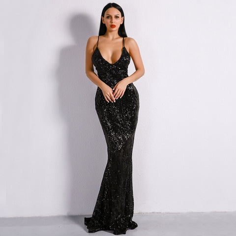 Prima Donna Black Sequin Fishtail Maxi Dress - Fashion Genie Boutique