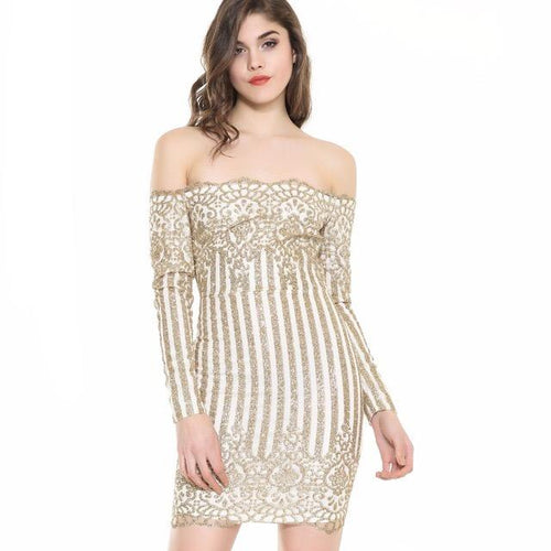 That Girl Gold Glitter Embellished  Bardot Mini Dress - Fashion Genie Boutique