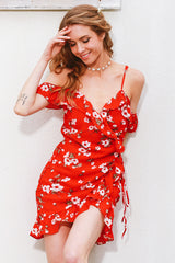 Bayside Red And White Floral Frill Mini Dress - Fashion Genie Boutique