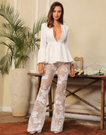 Little Wonder White Sequin Mesh High Waisted Trousers - Fashion Genie Boutique