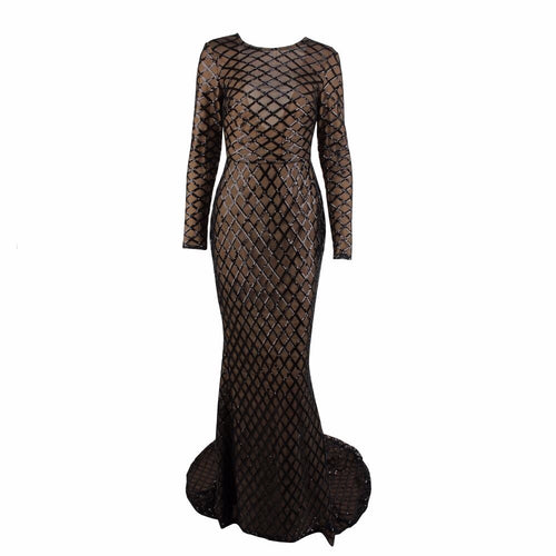 Time And Grace Black Glitter Embellished Long Sleeve Maxi Dress - Fashion Genie Boutique