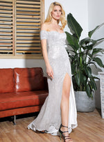 Falling Hard Silver Bardot Sequin Side Split Maxi Dress Gown - Fashion Genie Boutique