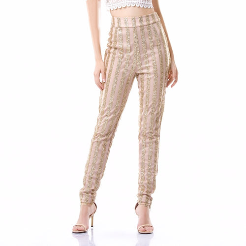 Walk Of Fame Gold & Nude Glitter Skinny Trousers - Fashion Genie Boutique