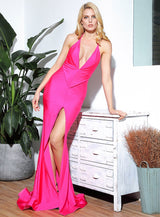 Spanish Dancer Hot Pink Plunge Front Split Maxi Fishtail Dress - Fashion Genie Boutique