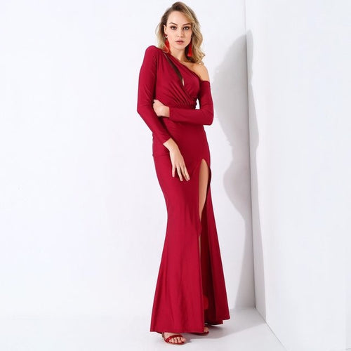 Showstopper Red Long Sleeve Maxi Dress - Fashion Genie Boutique