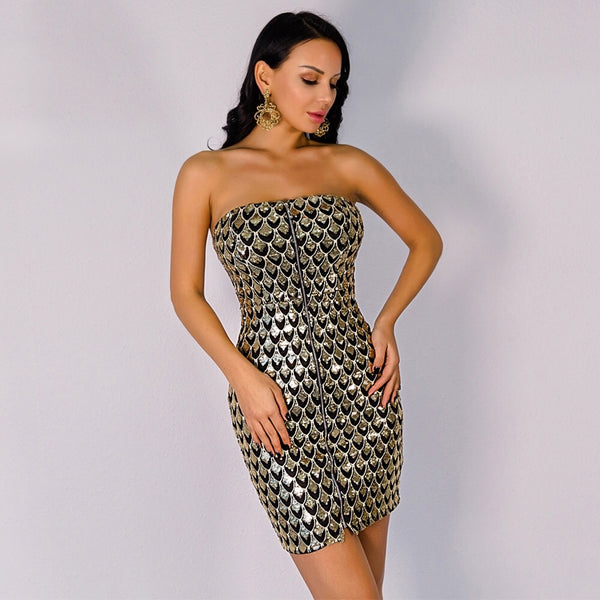 Bad influence Gold Sequin Strapless Mini Dress - Fashion Genie Boutique