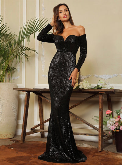 Oh So Fancy Black Bardot Sequin Long Sleeve Maxi Gown Dress - Fashion Genie Boutique