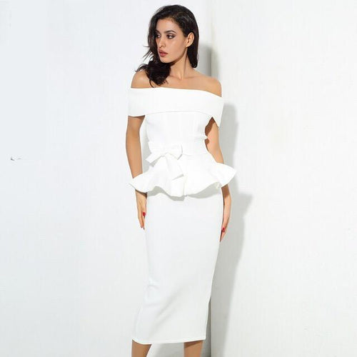 Hope White Peplum Bardot Top & Midi Skirt Co-Ord - Fashion Genie Boutique
