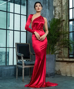 All The Drama Red One Shoulder Satin Maxi Gown Dress - Fashion Genie Boutique