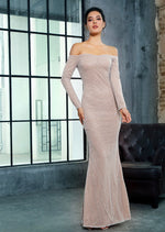 Molly Silver Bardot Glitter Embellished Long Sleeve Maxi Fishtail Dress - Fashion Genie Boutique