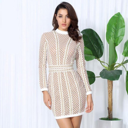 Vegas Nights White Long Sleeve Bandage Mini Dress - Fashion Genie Boutique
