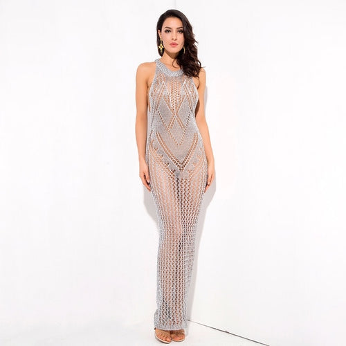 Sun Goes Down Silver Metallic Knitted Maxi Cover Up - Fashion Genie Boutique