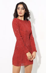 Glam Life Red Sequin Long Sleeve Mini Dress - Fashion Genie Boutique