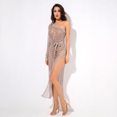 Ready To Glow Nude Glitter Knit Kaftan Dress - Fashion Genie Boutique