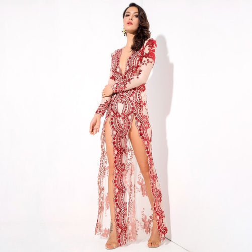 Lady Boss Red Sequin Long Sleeve Split Leg Jumpsuit - Fashion Genie Boutique