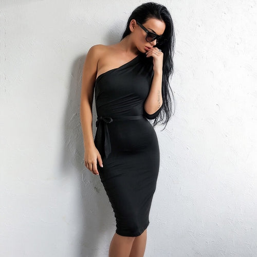 Good Life Black One Shoulder Slinky Midi Dress - Fashion Genie Boutique