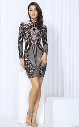 Unpredictable Moments Black Long Sleeve Sequin Mini Dress - Fashion Genie Boutique