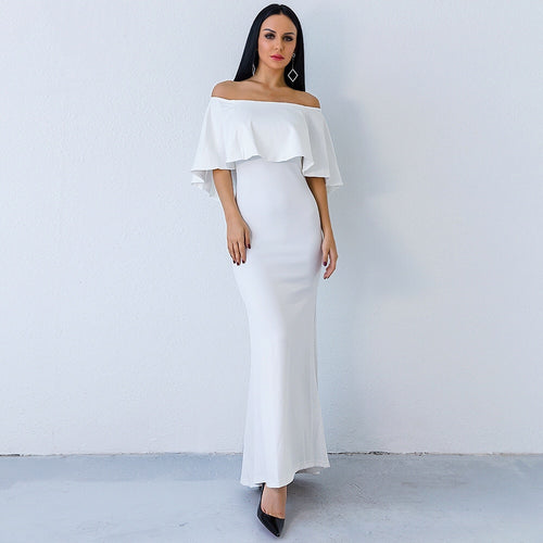 Aveline White Bardot Maxi Dress - Fashion Genie Boutique