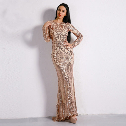 14b00e75d542 Unrequited Love Rose Gold Sequin Long Sleeve Maxi Dress - Fashion Genie  Boutique