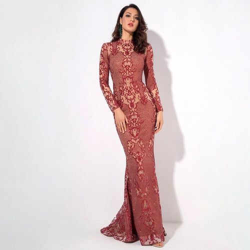 Moroccan Mama Red Long Sleeve Glitter Fishtail Maxi Dress - Fashion Genie Boutique