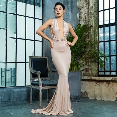 Make An Entrance Nude Multi-way Maxi Fishtail Dress - Fashion Genie Boutique