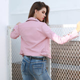 Love Generation Pink Faux Leather Embroidered Jacket - Fashion Genie Boutique