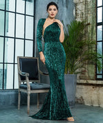 Luxury Night Green Sequin One Shoulder Maxi Gown Dress - Fashion Genie Boutique