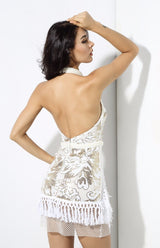 So Divine White Sequin Tassel Mini Dress - Fashion Genie Boutique